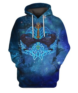 Viking Crow And Key Pullover 3D All Over Print | Hoodie | Unisex | Full Size | Adult | Colorful | HT1976
