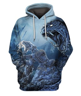 Viking Thor Vs Midgard Serpent 3D All Over Print | Hoodie | Unisex | Full Size | Adult | Colorful | HT1978