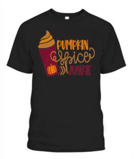 PUMPKIN SPICE JUNKIE GIFT FUNNY AUTUMN COFFEE ADDICT PREMIUM T-SHIRT