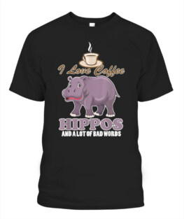 Adorable hippo and funny coffee addict t