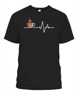 Coffee Heartbeat Lifeline Line of Life - Coffee Addict Shirt