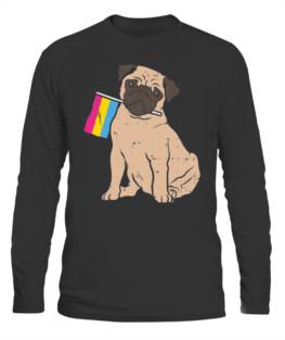 DOG PUG PANSEXUAL PRIDE FLAG PAN LGBT ANIMAL PET LOVER GIFT LONG SLEEVE T-SHIRT