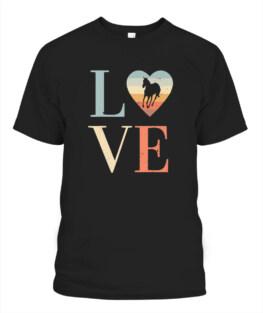 Love Vintage horse Shirt Retro Valentines Day