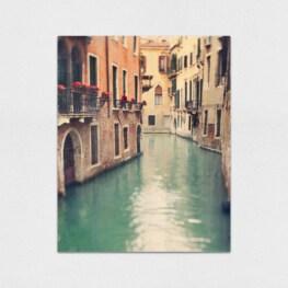 Canal in Venice Wood Wall Art - Venice Iatly Wood Canvas Wall Art