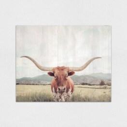 Longhorn Wood Wall Art - Cow Wood Wall Art