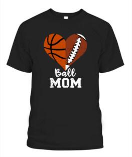 Funny Ball Mom Heart Funny Football Basketball Mom graphic tee shirt gifts