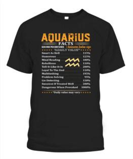 Aquarius Facts Gifts - Aquarius Birthday Funny Aquarius Graphic Tee Shirt Gifts