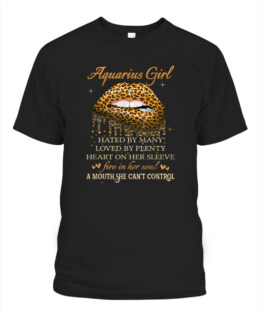 Aquarius Girl Birthday Gifts Funny Leopard Lip Funny Aquarius Graphic Tee Shirt Gifts