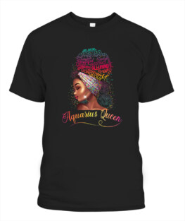 Aquarius Queen Afro Women January February Melanin Birthday Funny Aquarius Graphic Tee Shirt Gifts