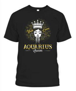 AQUARIUS Queen Black Women February Birthday Funny Aquarius Graphic Tee Shirt Gifts