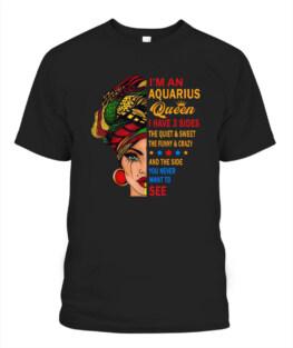 Aquarius Queens Are Born in January 20 - February 18 Funny Aquarius Graphic Tee Shirt Gifts