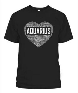 Aquarius Zodiac Traits Horoscope Astrology Sign Gift Heart Funny Aquarius Graphic Tee Shirt Gifts