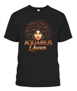 Black Women Afro Hair Art AQUARIUS Queen February Birthday Funny Aquarius Graphic Tee Shirt Gifts