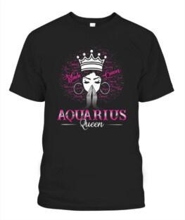 Black Women AQUARIUS Queen February Birthday Gifts Funny Aquarius Graphic Tee Shirt Gifts