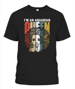 Queen Aquarius Gifts for Women Shirt - February January Funny Aquarius Graphic Tee Shirt Gifts