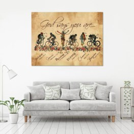 Cyling Biker God says you are Home Decor Canvas Prints Full Size