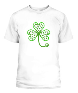 Shamrock Stethoscope Nurse Oufit St Patricks Day Lucky Adult T Shirts Gifts Full Size