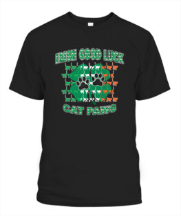 Irish Good Luck Cat Paws St Patricks Day Adult T Shirts Gifts Full Size