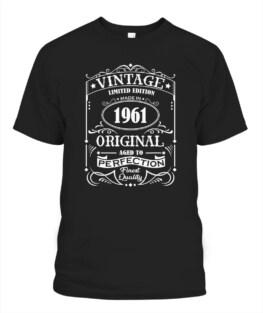 Vintage 1961 Birthday Original Jack Whiskey 60 Years Old Adult T Shirts Full Size