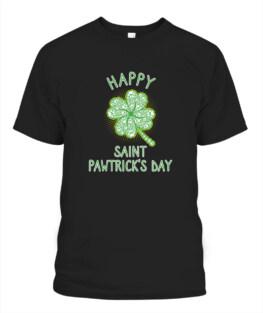 Dog Paw Prints St Patricks Day Happy St Pawtricks Day Adult T-Shirt Full Size