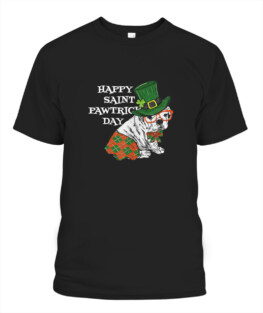 Happy Saint Pawtricks Day Funny Dog tee for St Patricks Day Adult T-Shirt Full Size