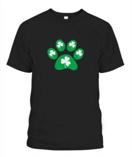 Paw Print Dog Lover Shirt Green St Patricks Day Shamrock Adult T-Shirt Full Size