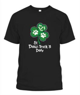 Paw Print Dog Lover Shirt St Patricks Day Shamrock Adult T-Shirt Full Size