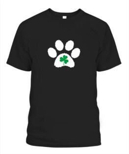 Paw Print Dog Owner Lover Shirt St Patricks Day Shamrock Adult T-Shirt Full Size