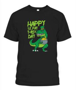 Happy St Pat Trex Day Funny Patricks Day Dinosaur TShirt Hoodie Sweatshirt