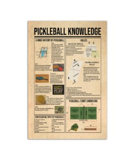 """Pickleball knowledge Wall Poster Vertical 7x11"""" 16x24"""" 24x36"""""""