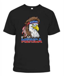 Eagle Mullet Merica Shirt Men 4th of July American Flag USA Veteran Memorial's Day TShirt Hoodie Adult S-5XL