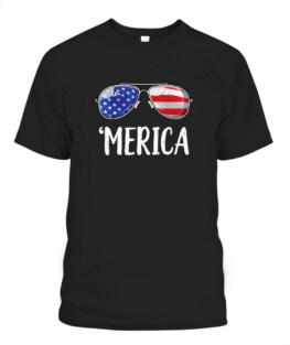 Merica Sunglasses 4th of July Veteran Memorial's Day TShirt Hoodie Adult S-5XL