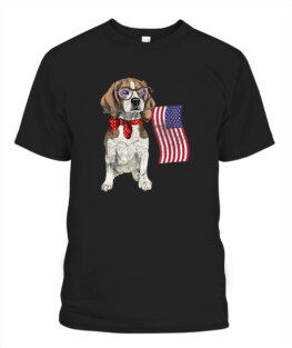 Smart Beagle Patriotic Memorial Day 4th Of July USA Flag Veteran Memorial's Day TShirt Hoodie Adult S-5XL
