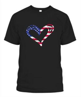 USA Flag Heart American Patriotic Armed Forces Memorial Day Veteran Memorial's Day TShirt Hoodie Adult S-5XL