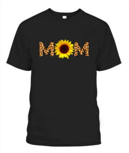 Leopard Print Mom Sunflower Mothers Day Cute Cheetah Print TShirt Gifts for Mom Full Size S-5XL