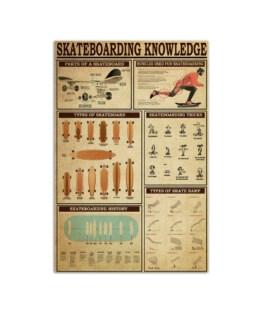 "Skateboarding Knowledge Board Wall Poster Vertical 7x11"" 16x24"" 24x36"""