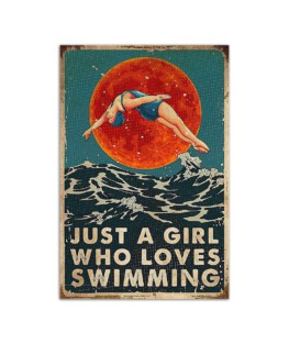 """Just a girl who loves swimming Wall Poster Vertical 7x11"""" 16x24"""" 24x36"""""""