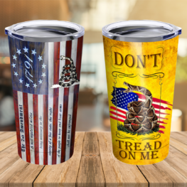 Don't Tread On Me 2nd Amendment Stainless Steel Tumbler Cup 20 oz | Travel Mug | Colorful | TC2231