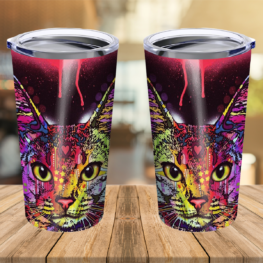 Cat Limited Edition Stainless Steel Tumbler Cup 20 oz | Travel Mug | Colorful | TC1199