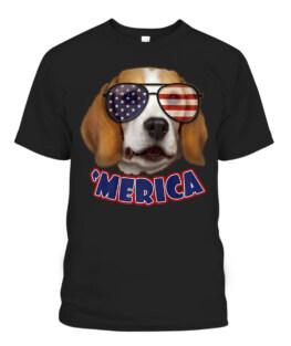 Dog Beagle American Flag Sunglasses 4th Of July USA 'Merica