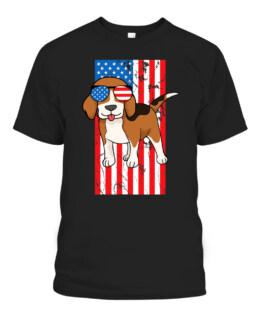 Vintage Beagle American USA Flag