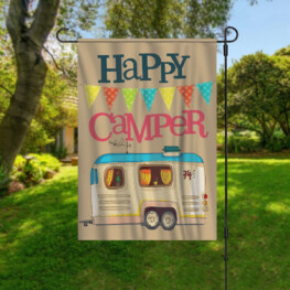 Personalized Happy Camper Live Love Camp Garden Flag Custom Family Name