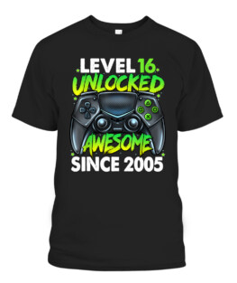 Level 16 Unlocked Awesome Since 2005 16th Birthday Gaming T-Shirt