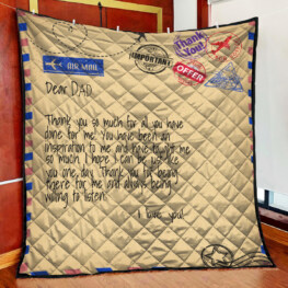 Air mail for dad father day quilt blanket