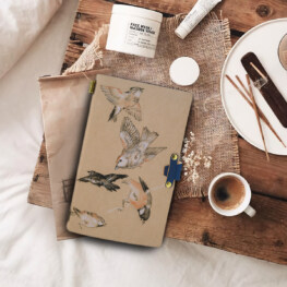 Bird Leather Journal, A5 Wide Ruled Hardcover Writing Notebook with Pocket + Page Dividers Gifts, Banded, Large, 180 Pages, 8.4 x 5.7 in