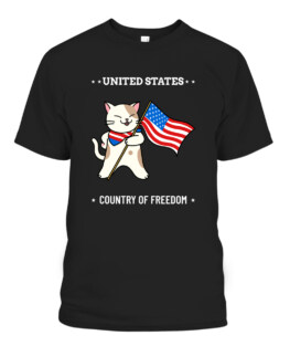 United State Country Of Freedom Cat T-shirt