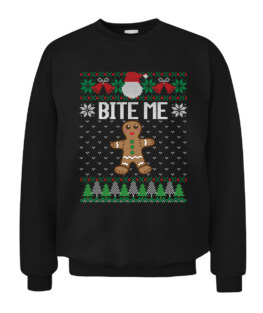 Funny Ugly Christmas Sweater Bite Me Gingerbread Man Graphic Tee Shirt Adult Size S-5XL