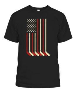 Hockey Goalie Gift USA Flag Hockey Stick Ice Hockey Graphic Tee Shirt Adult Size S-5XL