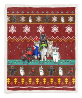 Red Cat Christmas Blanket 60x80 Inch Adult Blanket