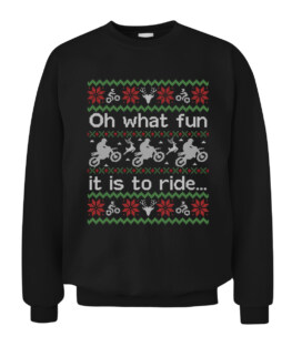 Funny Ugly Sweater Christmas Dirt Bike Graphic Tee Shirt Adult Size S-5XL
